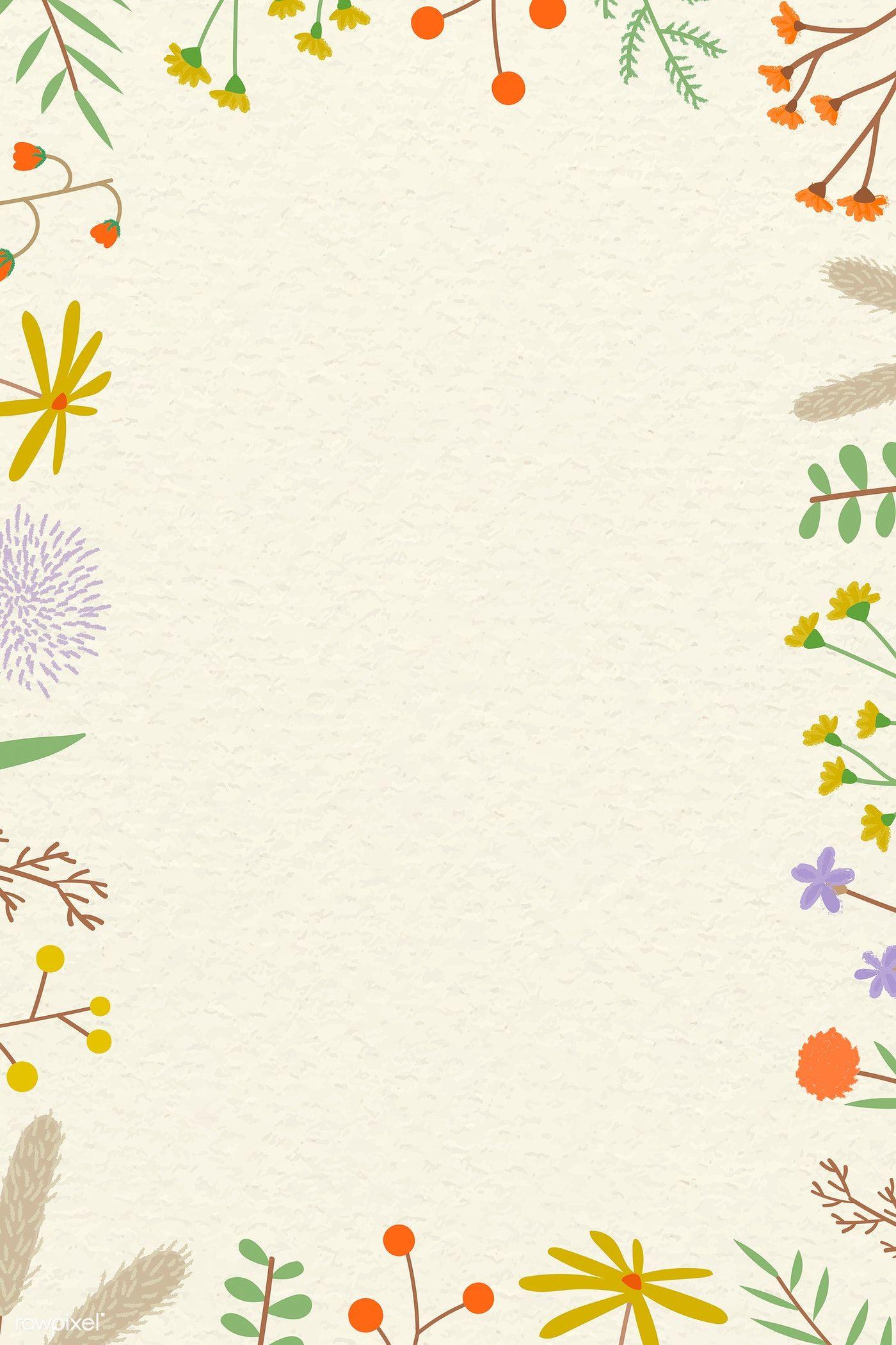 Download Premium Vector Of Doodle Nature Patterned Frame Vector 1222907 Patterns In Nature Floral Border Design Flower Frame