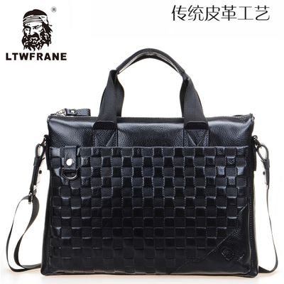 LTWFRANE Genuine Leather M Package Men Handbags Business Package Leather  Briefcase Computer Bag Plaid Handbags 16248414559 ef2767a997802