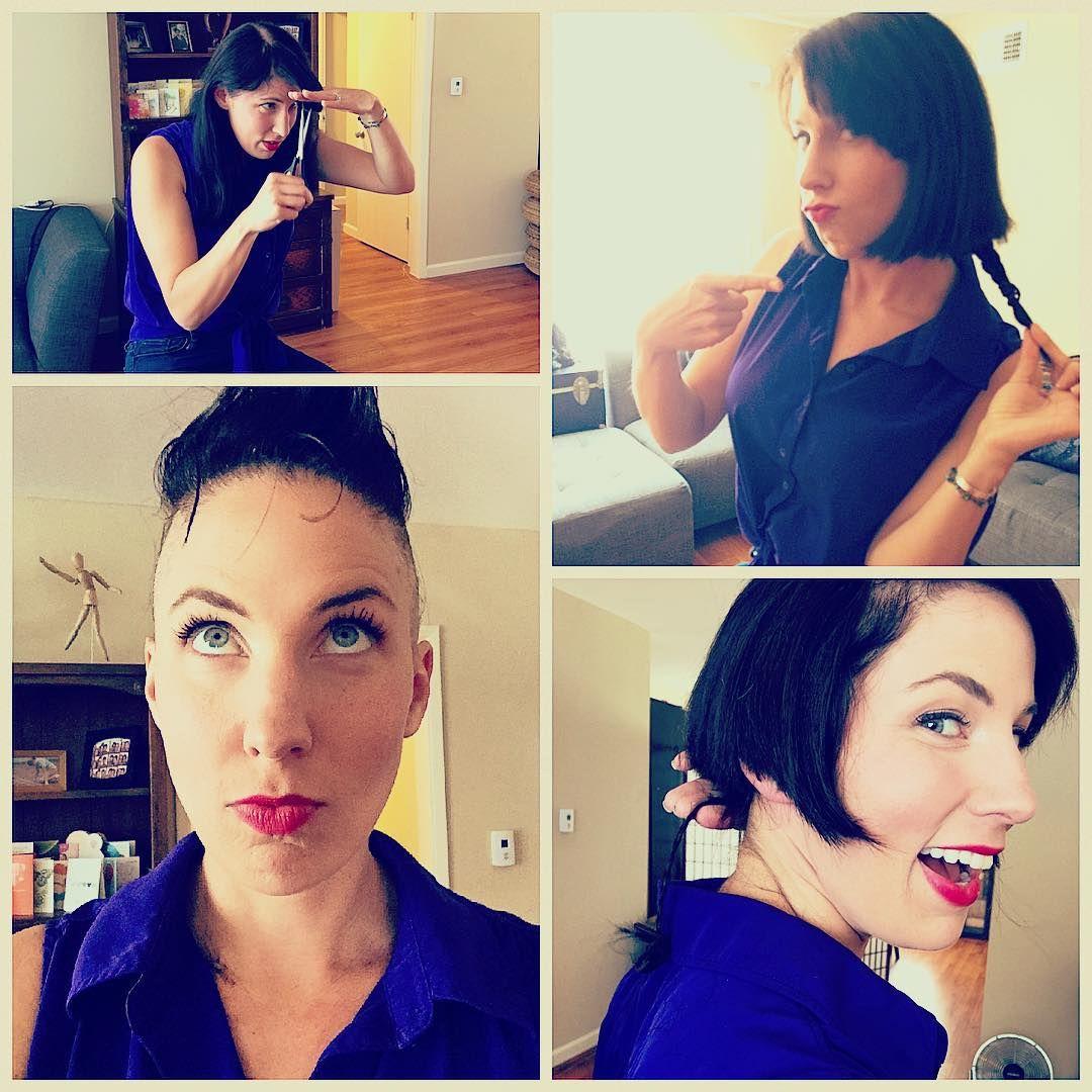 Women cuts her hair into a rattail alternative haircuts
