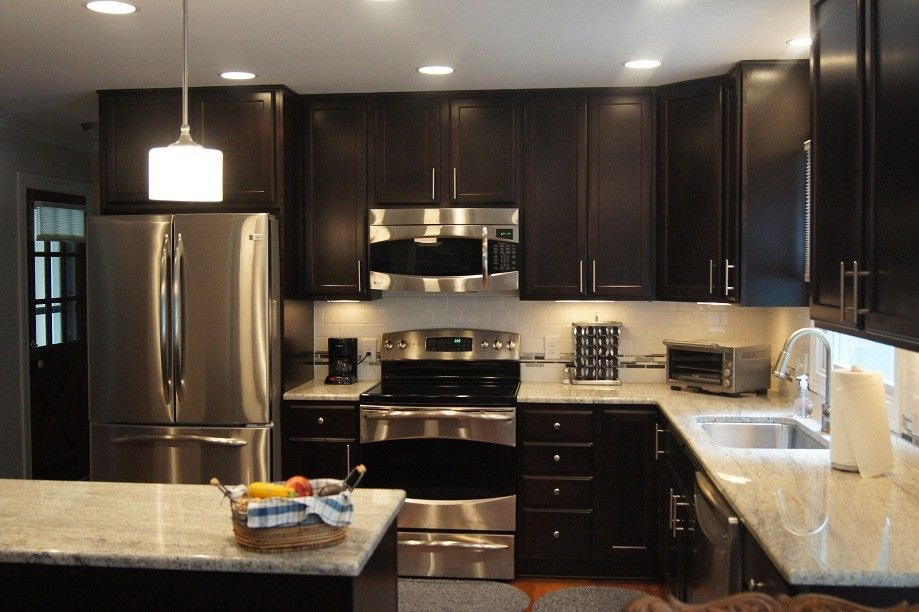 Dark Modern Kitchen dark kitchen cabinets with white countertops | kitchen remodel