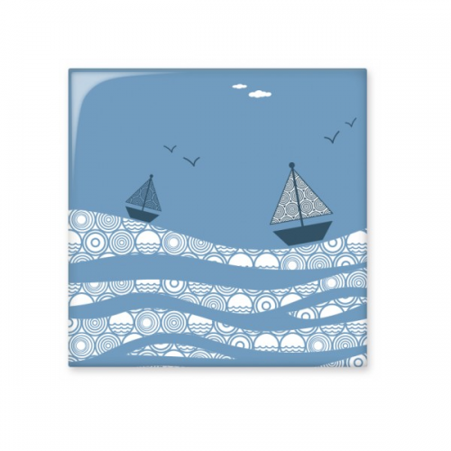 cartoon sea wave boat landscape painting white cloud illustration