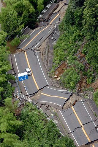 Road after a Japanese earthquake - wow!