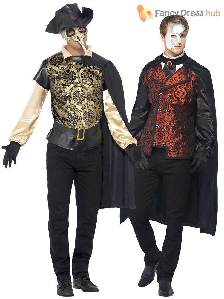 Mens Deluxe Masquerade Vampire Phantom Halloween Carnival Fancy Dress Costume