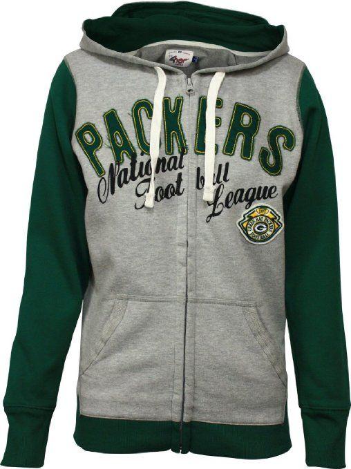Amazon.com: NFL Green Bay Packers Womens Nickel Coverage Full Zip Hoodie - Gray/Green: Clothing