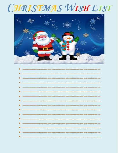 Christmas Wish list template printableform Pinterest Template