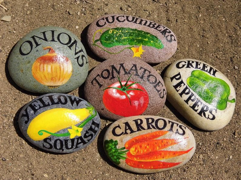 Garden markers painted on the rocks. Fruit and veggies. Gift. | Etsy