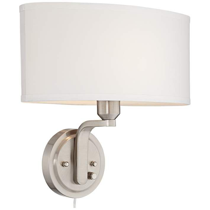 possini euro design brushed nickel dimmable pin up wall lamp