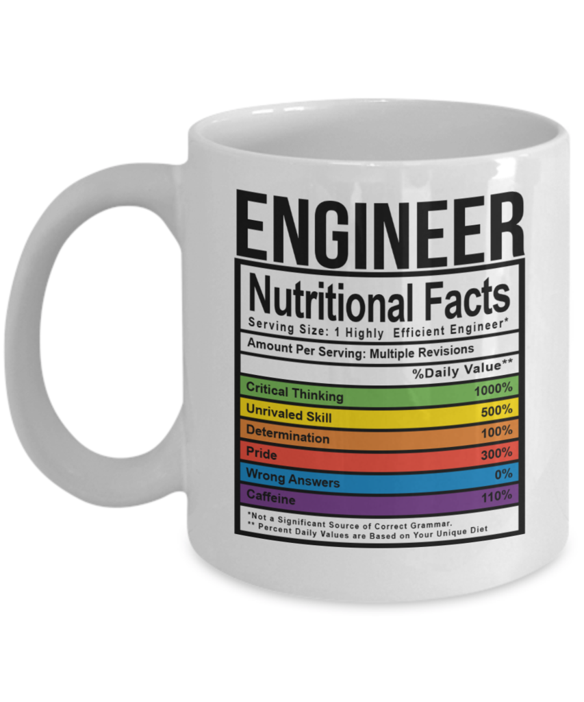 engineer facts! this coffee mug makes a great gift for engineers or