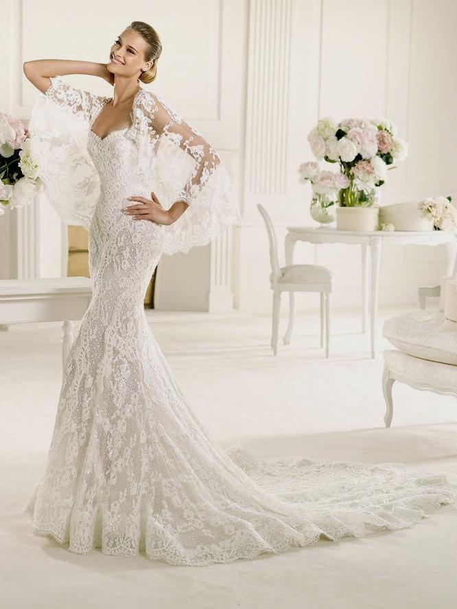 Lace Fitted Wedding Dress Pronovias Manuel Mota Erika | Storyboard ...