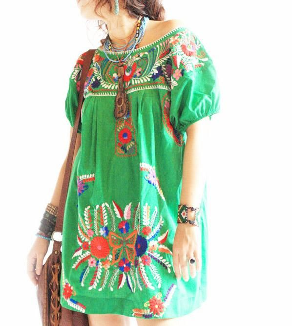 Esmeralda vintage Mexican embroidered mini tunic tent
