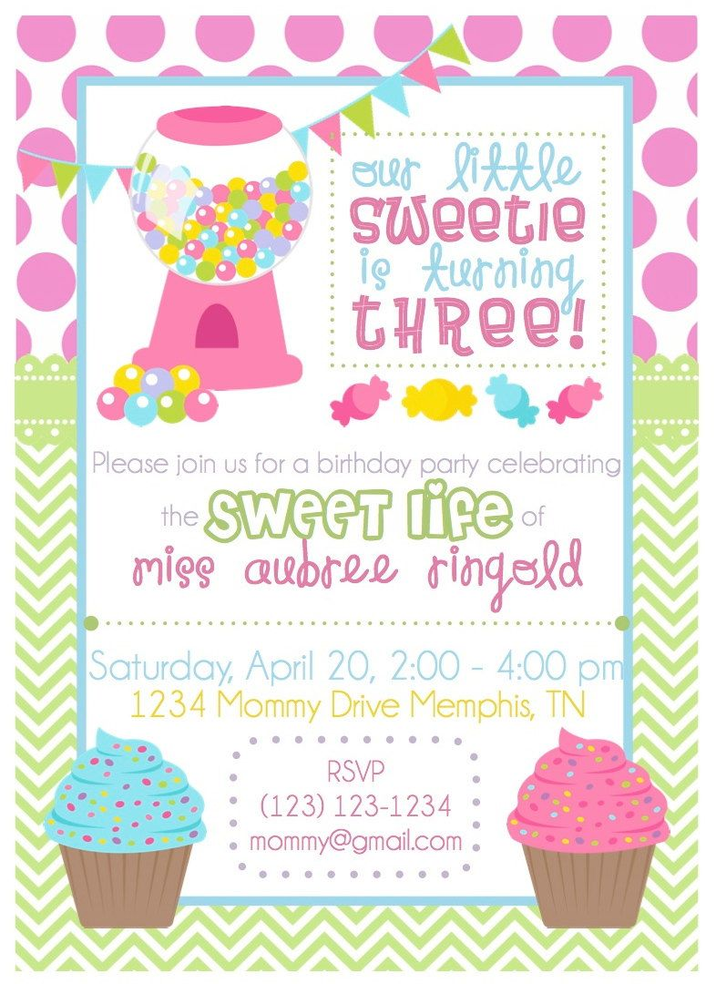 Printable Candy Shop Birthday Invitation and Thank You note ...