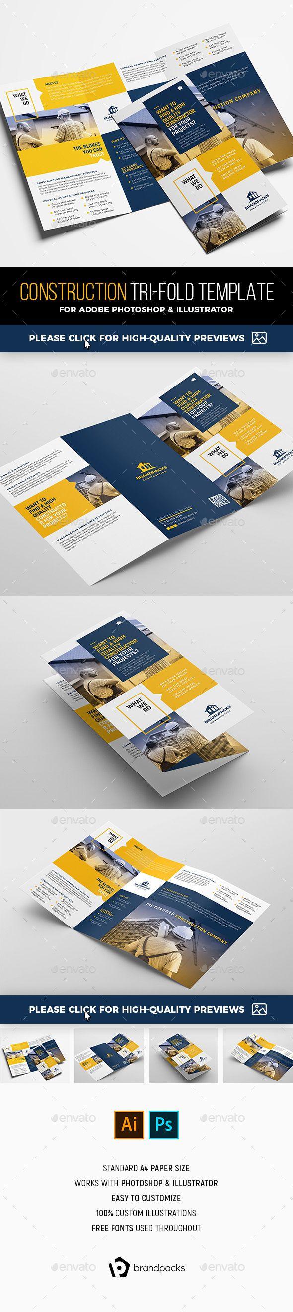 construction tri fold brochure template corporate brochures