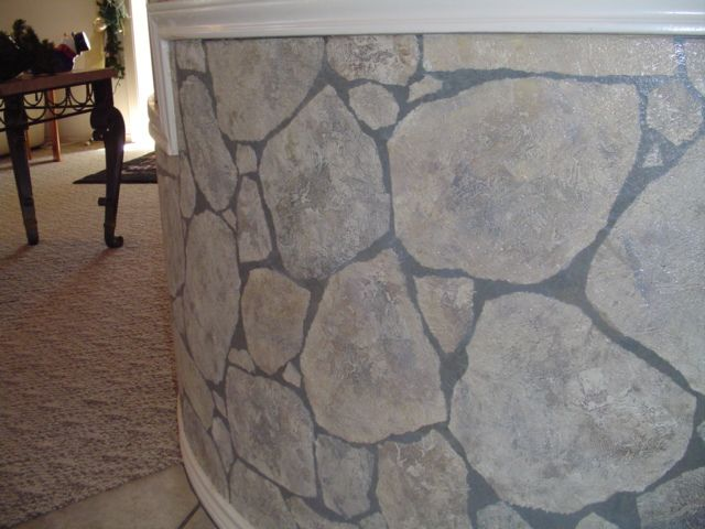 This Curved Wall Had Been Wallpapered Several Times But Client Wanted Something Different We Painted Gray Color Faux Rock Walls Faux Stone Walls Stone Wall