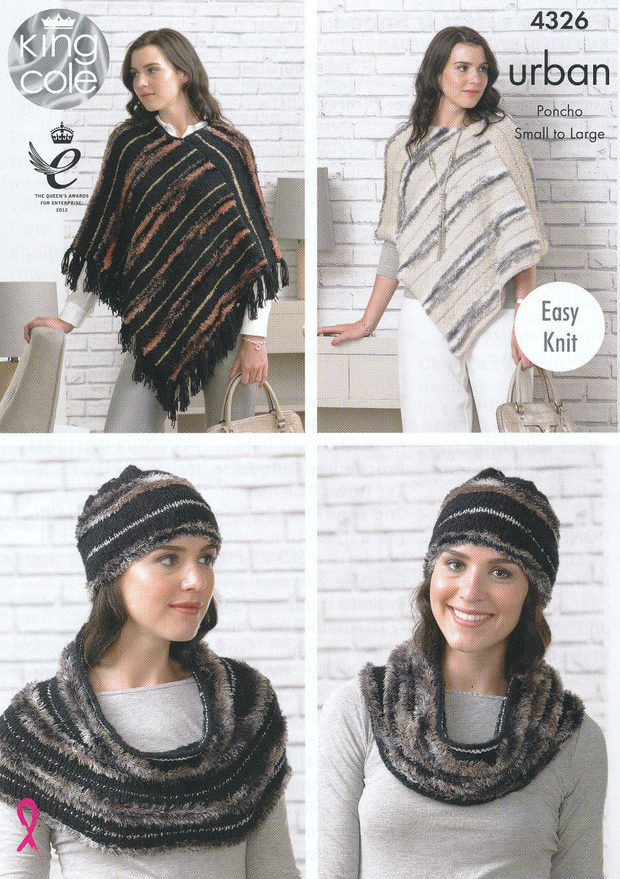 King cole urban knitting pattern ponchos hat snood 4326 king cole urban knitting pattern ponchos hat snood 4326 bankloansurffo Images