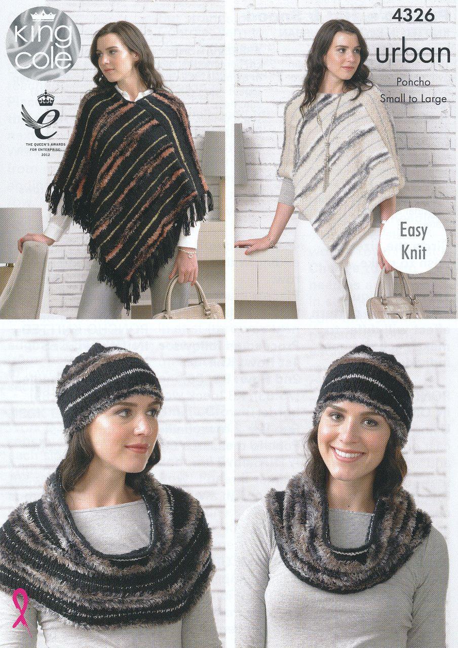 King cole urban knitting pattern ponchos hat snood 4326 king cole urban knitting pattern ponchos hat snood 4326 bankloansurffo Choice Image