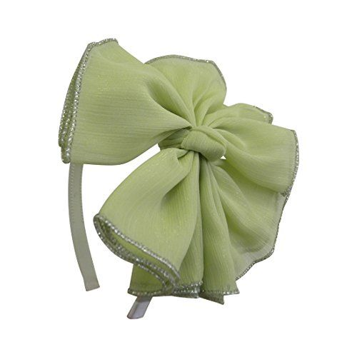 Mint Chiffon Bow with Silver Edging Headband for Women and Girls Hair Band *** Click on the image for additional details.(This is an Amazon affiliate link)