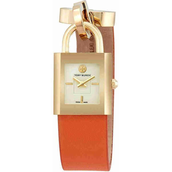 c8adf33f90b Tory Burch Surrey Ivory Dial Orange Leather Wrap Ladies Watch ( 177) ❤  liked on Polyvore featuring jewelry