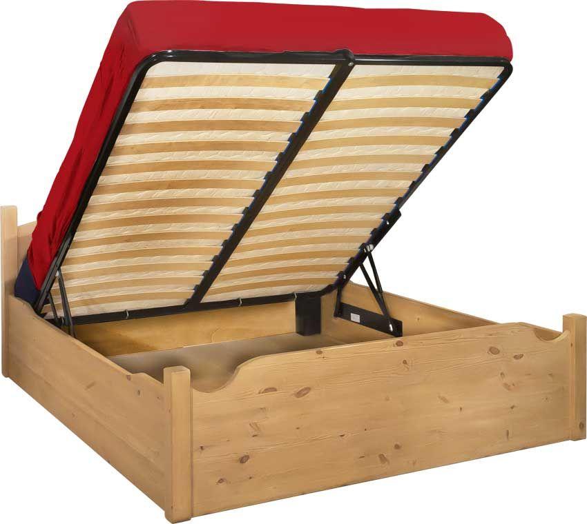 """Letto rustico """"Cuore"""" in legno massello di pino di Svezia, proposto come letto contenitore. www ..."""