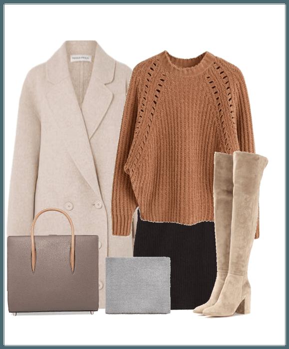 f5eed3fec40 Warm Weather Wear  coat  sweater  sweaterweather  tallboots  boots   velvetboots  handbag  work  party  shoplook  polyvore  winter  winterwear