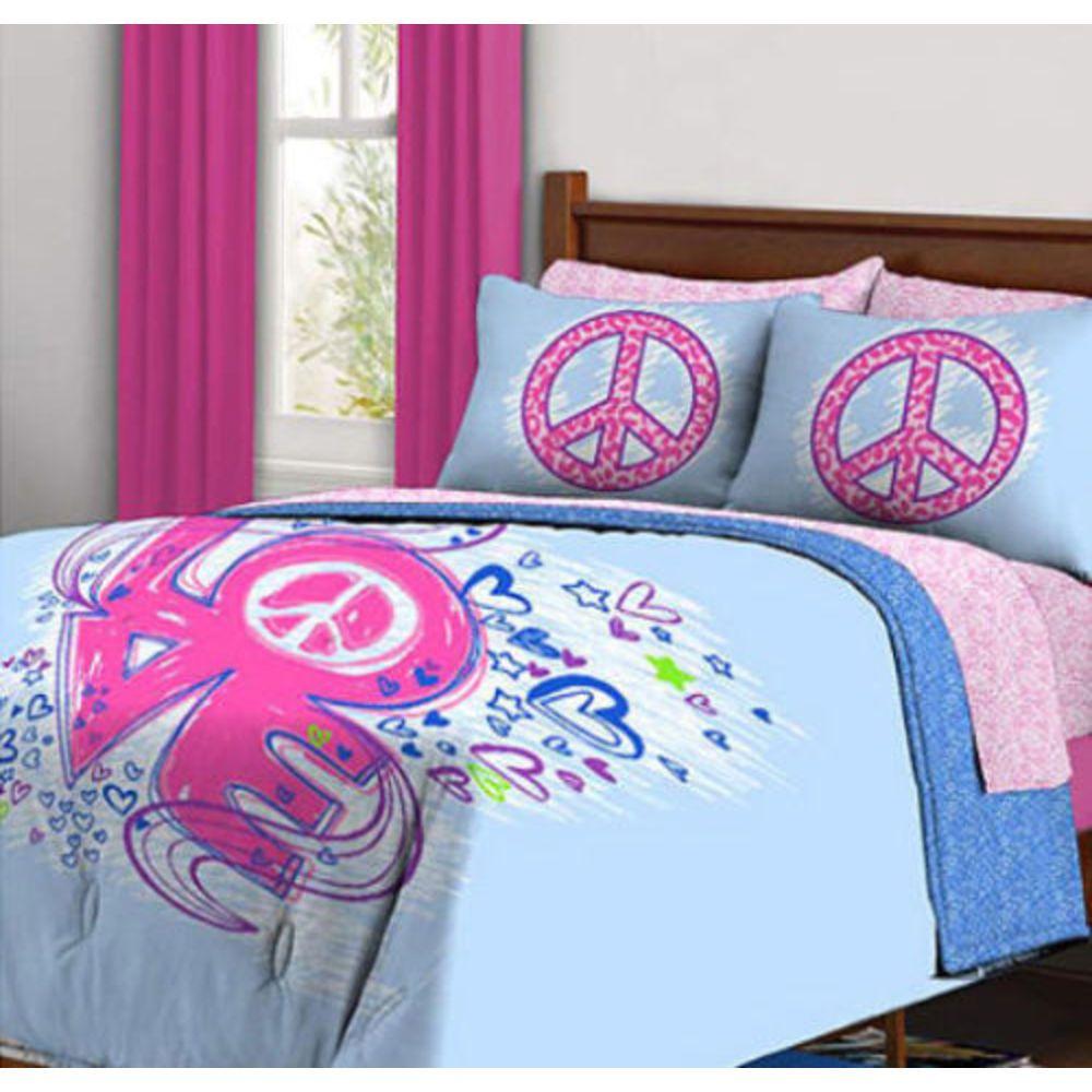 Kids Bedding Peace Signs Amp Love Teen Girls Full Comforter