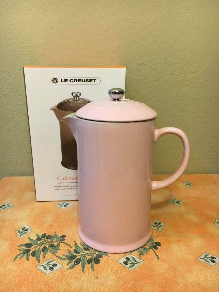 For Your Consideration Is A Genuine Le Creuset Stoneware French Press Coffee Or Tea Pot In Rare Discontinued Chiffon Pink