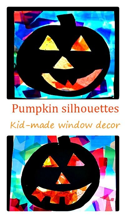 Kid Made Window Decor For Halloween Pumpkin Silhouettes Craft So