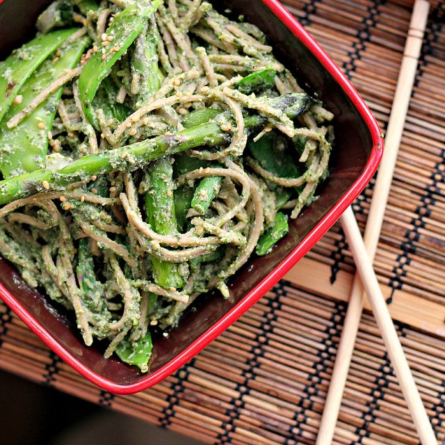Coriander and Nori Pesto Soba with Wok Seared Greens