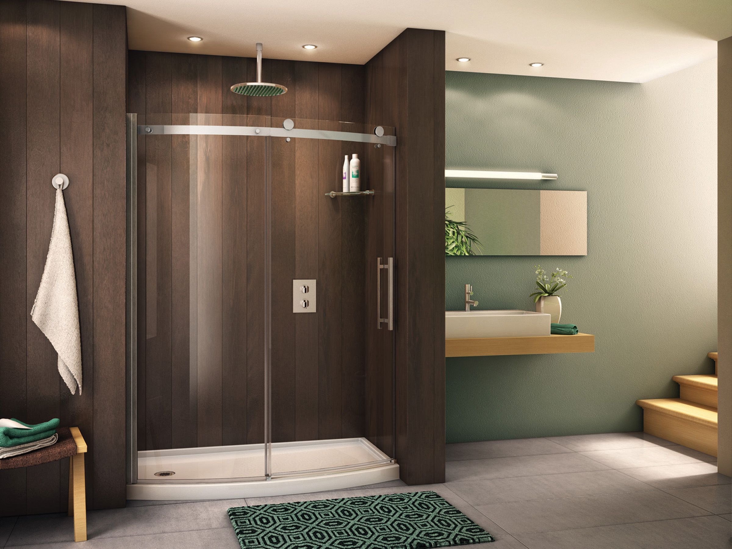 bathroom interior. showy glass shower doors luxurious enclosure