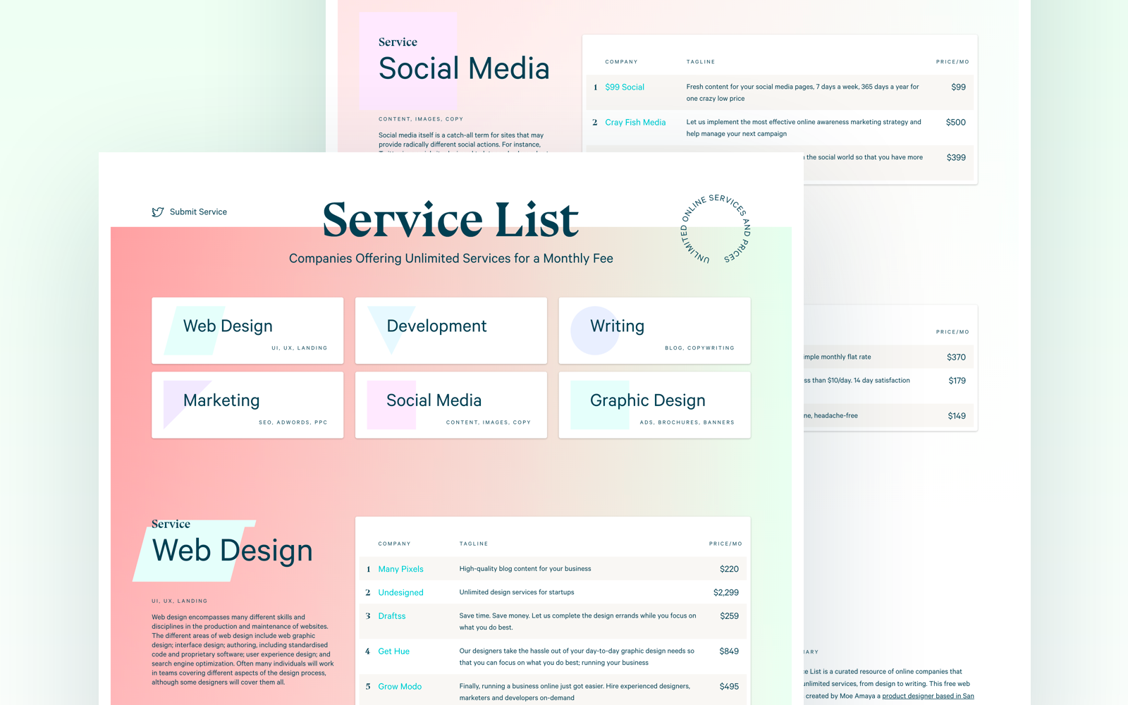 Service List is a curated resource of online companies that offer