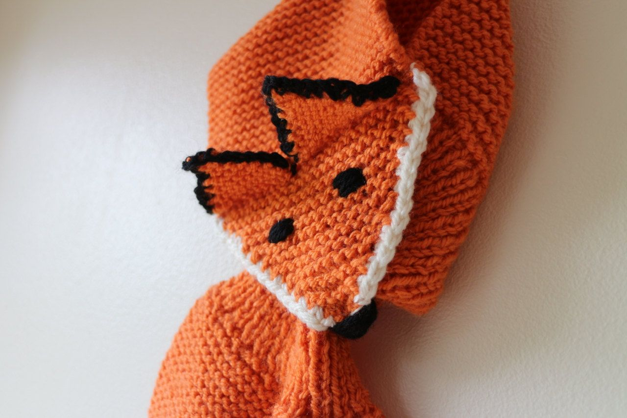 fox scarf hand knitted for kids aged 2 6 year old fun fox scarf