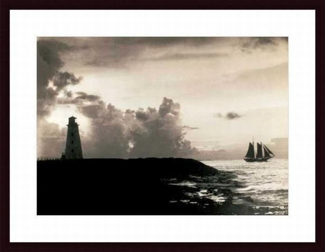 The Bahamas Nassau Harbor Lighthouse, 1927 by E. O. Hoppe Framed Photographic Print