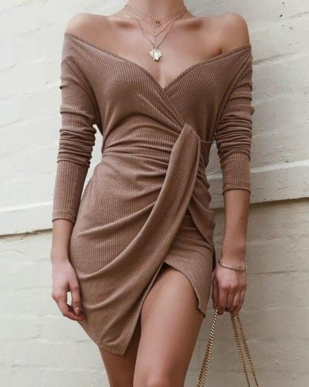Sunlen Long Sleeve Short Hem Turtleneck Bodycon Women Dress for Cocktail Party Occasions SL1BH5916