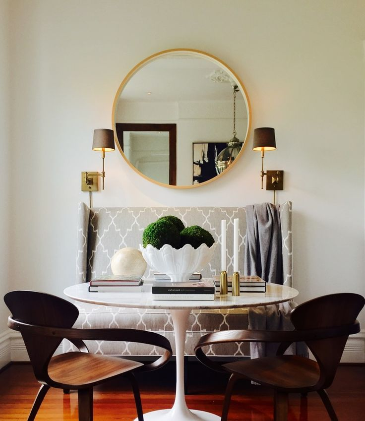 Oversized Round Mirror Dining Space Glamorous Home Decor Eclectic Home Modern Furnishings