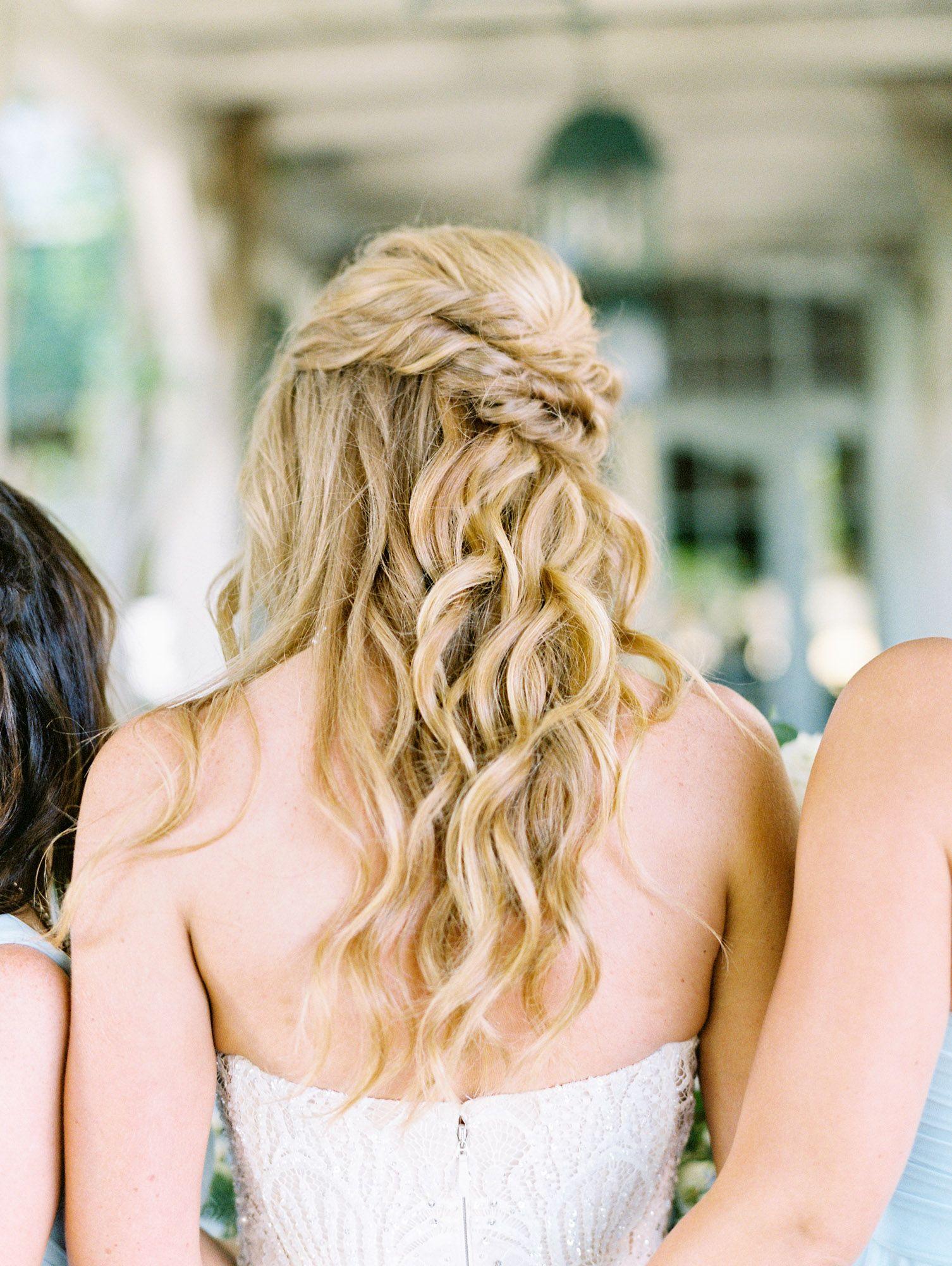 Loose Curls In Half Updo Wedding Hairstyle Del Mar Country Club