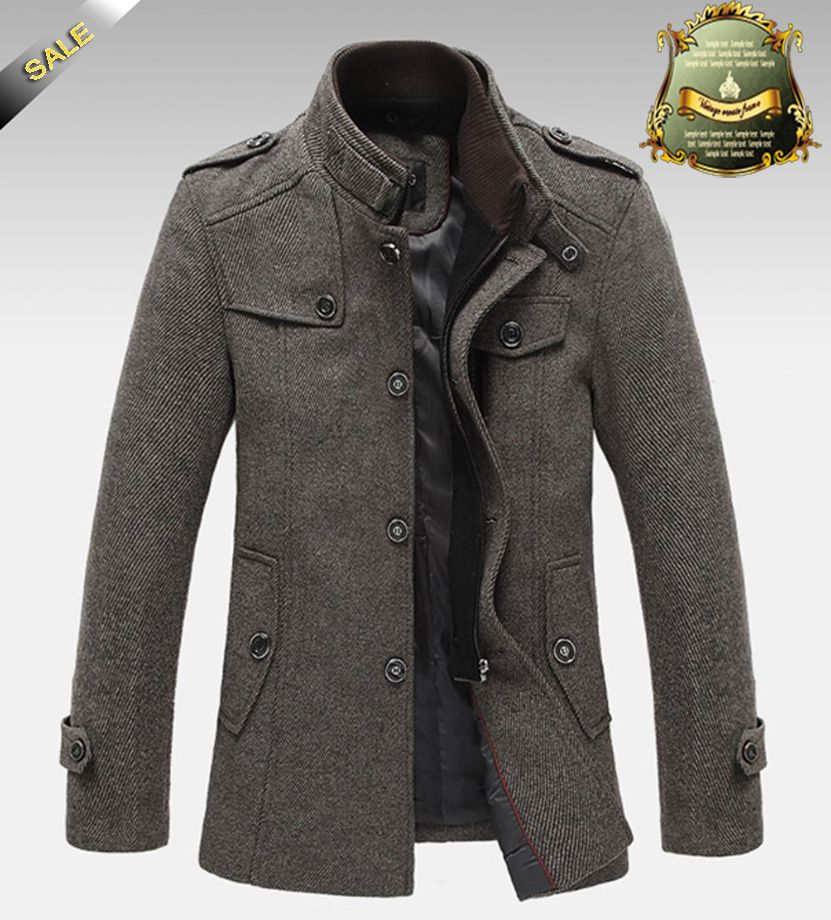 Knitted Stand Collar Wool Blend Tweed Coats Long Jackets ...