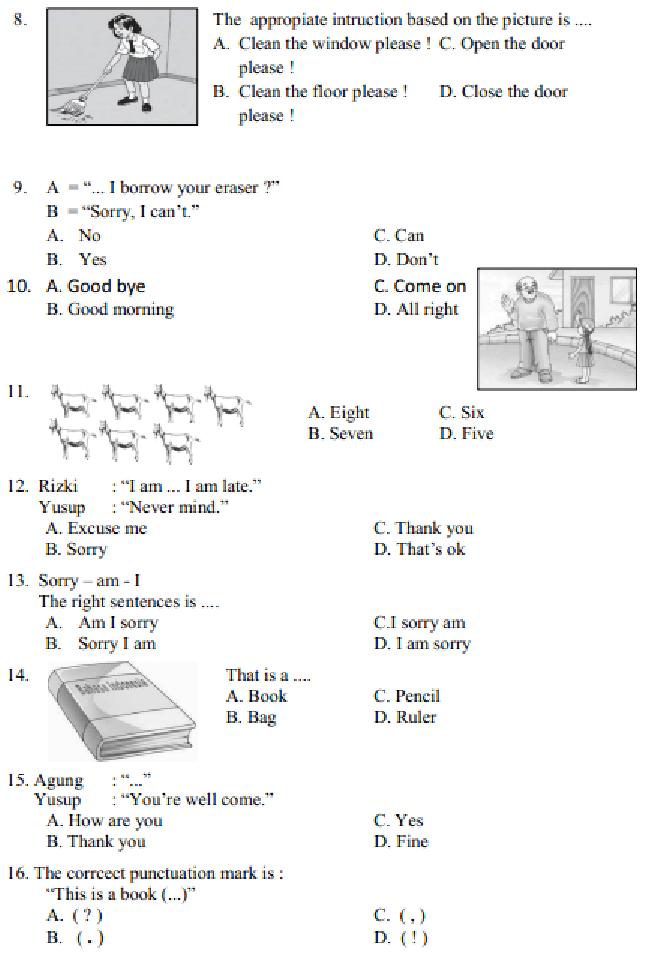 Soal Bahasa Inggris Kelas 6 Beserta Jawabannya