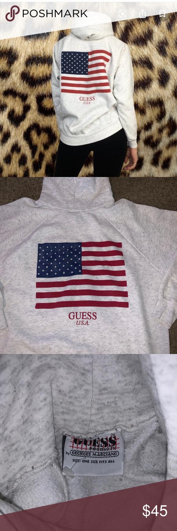 Vintage Guess American Flag Logo Osfa Excellent American Flag Sweatshirt Sweatshirts Hoodie Vintage American Flag