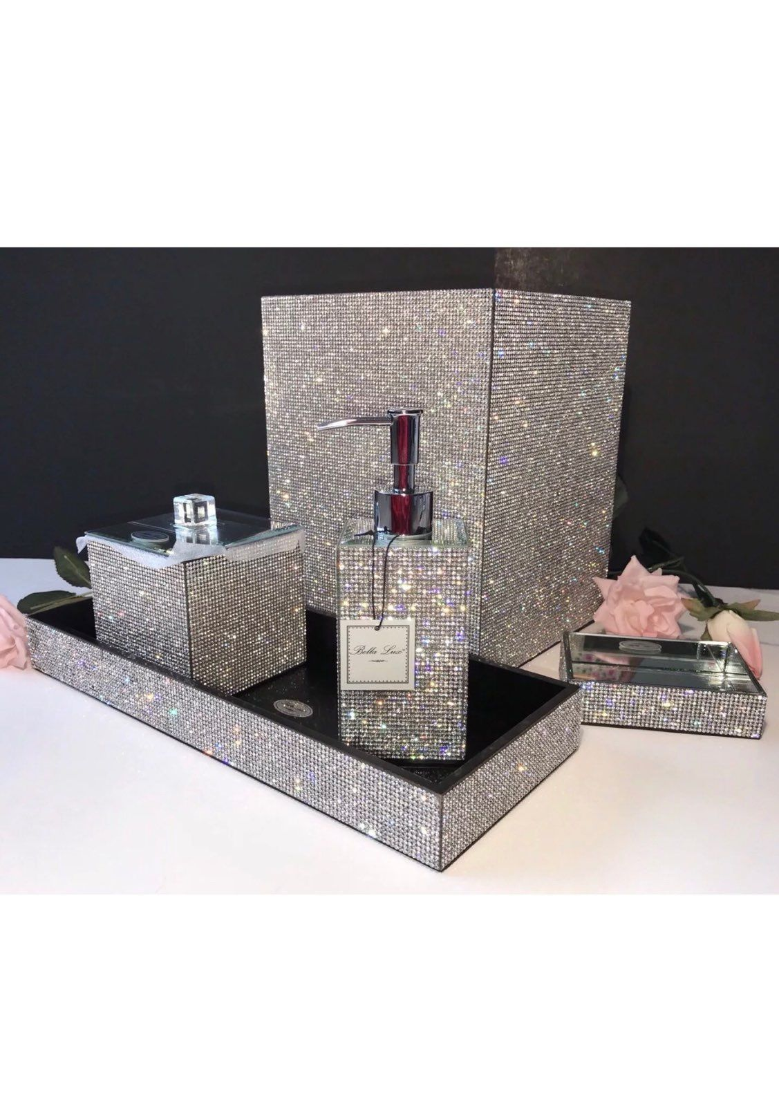 New never used bathroom set by Bella Lux with Rhinestone covered