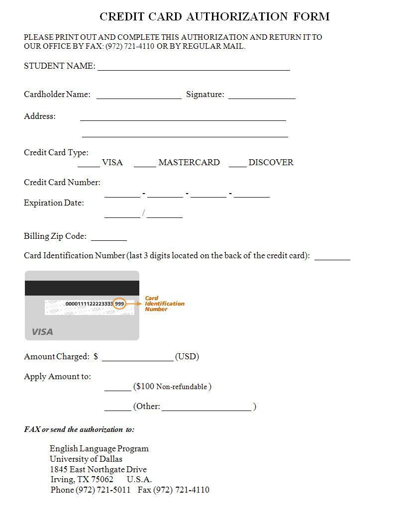 Credit Card Authorization Form Template Credit Card Images Hotel Credit Cards Credit Card Design