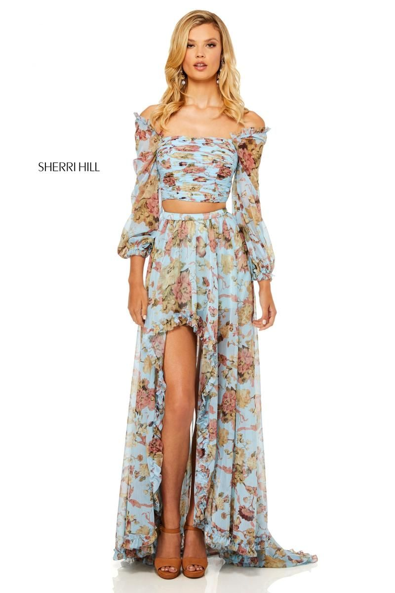 cf8aa53b5b61 Style 52534 from Sherri Hill is a boho off the shoulder floral print 2  piece prom gown with long sleeves
