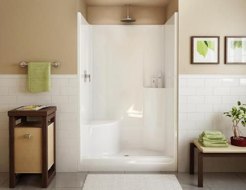 Maax Evergreen 1 Piece Shower Lh Seat Center Drain At Menards Fiberglass Shower Stalls Fiberglass Shower Shower Remodel