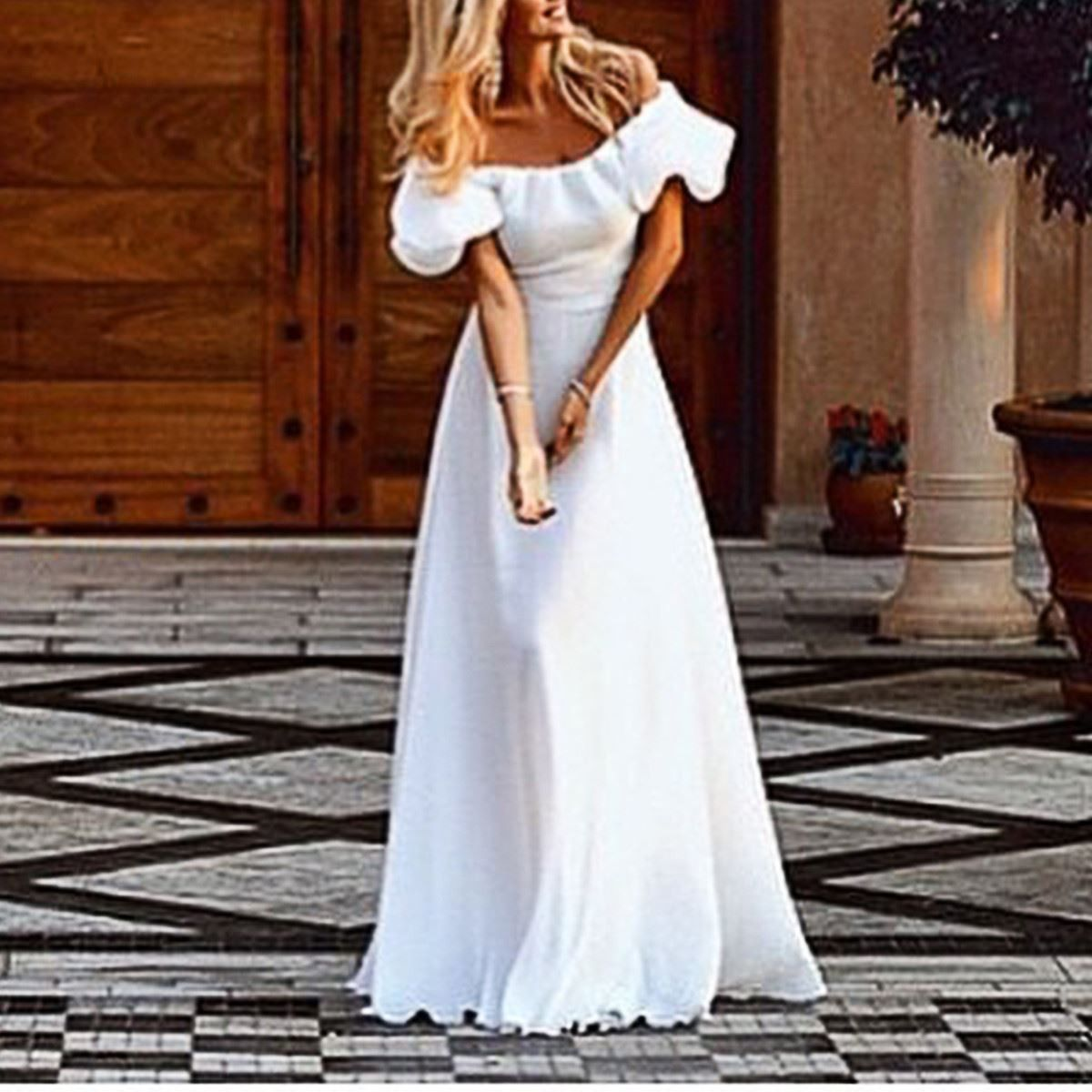 New sexy off shoulder chiffon butterfly sleeve long maxi dress