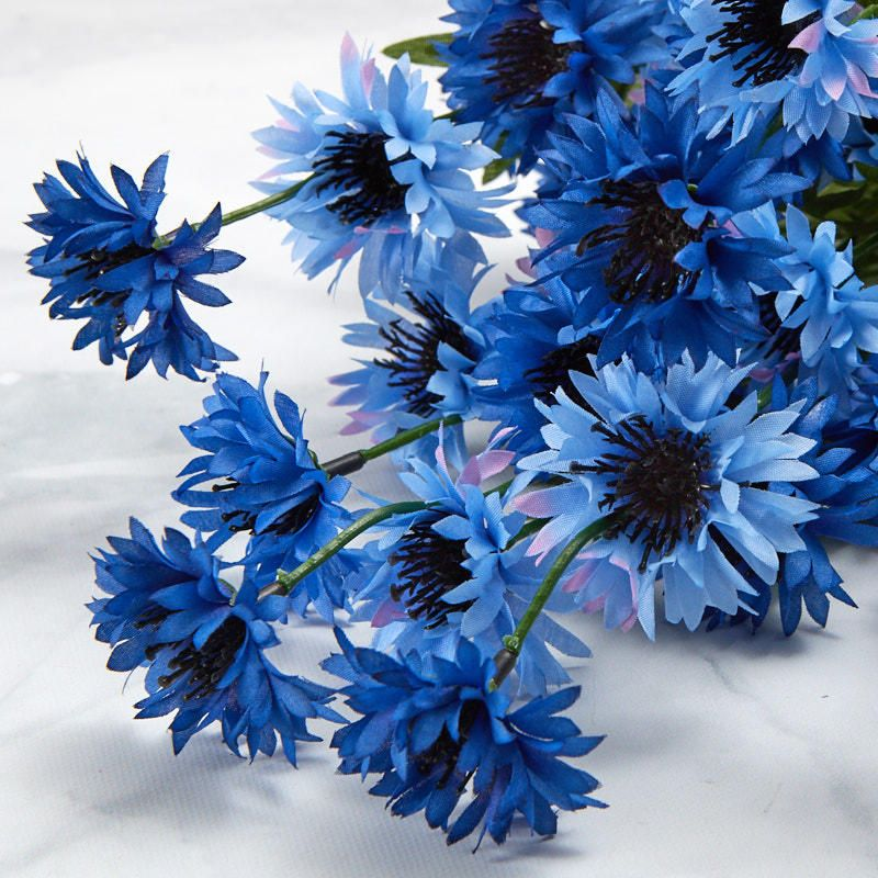 Blue Artificial Cornflower Bush Floral Supplies Artificial Flowers Craft Supplies