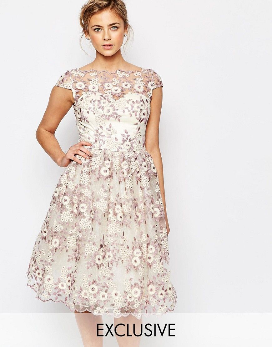 Breastfeeding dresses for weddings  Chi Chi London Premium Floral Lace Midi Dress with Bardot Neck  My