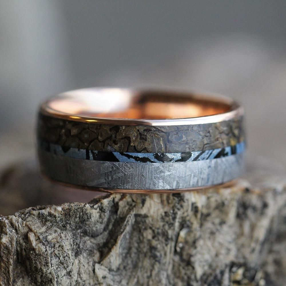 Mokume Men's Wedding Band in Rose Gold With Meteorite And