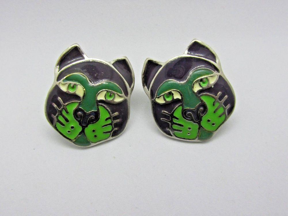 Edgar Berebi Cat Face Earring Enamel Pierced Green Purple Silver Tone