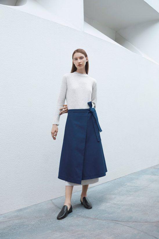 7171de994aaae2 COS x Agnes Martin Guggenheim 2016 Dress: Waffle knit cashmere dress  Bottom: Folded wrap-over