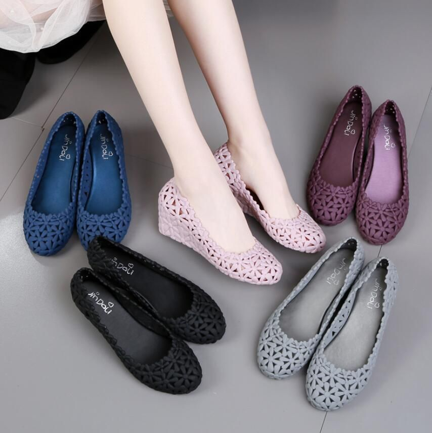 LADIES LOW FLAT HEEL PEEP TOE CASUAL BALLERINA JELLY LOAFERS SANDALS SHOES SIZE