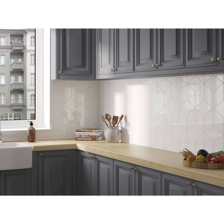 Wandfliese Kalea Weiß 17x17cm  Innenarchitektur küche