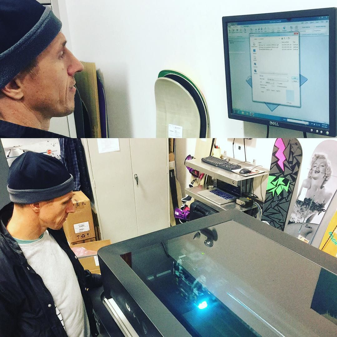 Something we liked from Instagram! It's always a special work day when Terje @chocorompe shows up in my shop and wants to get hands on with #futureshred  Today I showed him how to drive the #connex500 #3Dprinter  and made some new #burtonbindings protos.  Hey Chef if you ever get tired of your pro snowboarder gig you can hang in here with me anytime...! Bring @cinemaseoane next time. by vtdoyle check us out: http://bit.ly/1KyLetq
